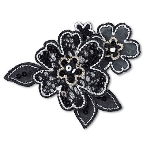 Applikation Blumenranke schwarz (A926567) kaufen im Makerist Materialshop