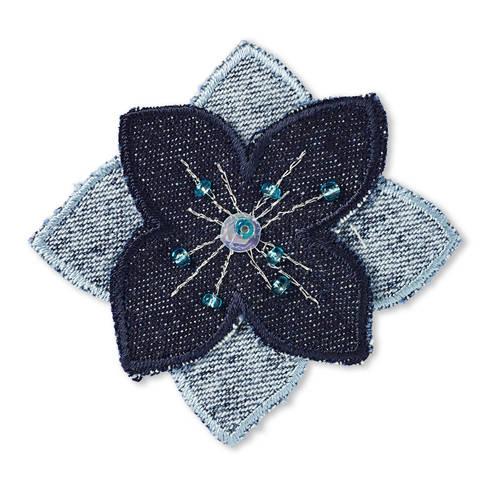 Applikation Blume blau Jeans mit Perlen kaufen im Makerist Materialshop