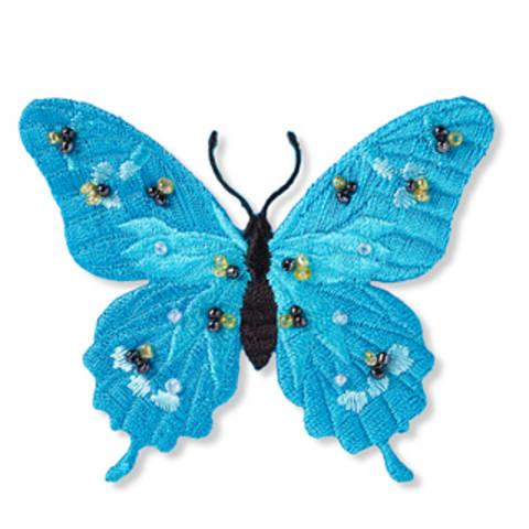 Applikation Schmetterling exklusiv türkis mit Perlen kaufen im Makerist Materialshop