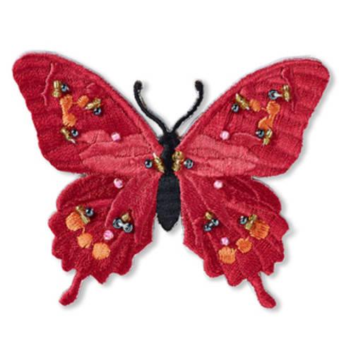 Applikation Schmetterling exklusiv rot mit Perlen kaufen im Makerist Materialshop