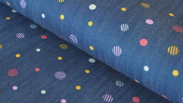 Dunkelblau bedruckter Jeansstoff: Pünktchen - 150 cm - Stoffe kaufen im Makerist Materialshop