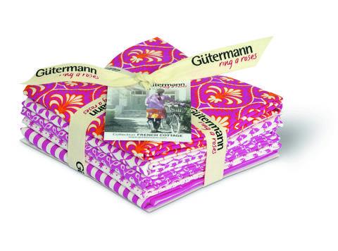 Fat Quarter Bundles von Gütermann creativ: French Cottage - col.3 pink/weiß kaufen im Makerist Materialshop
