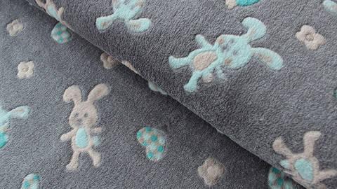 Grauer Jacquard Fleece: Häschen - 150 cm kaufen im Makerist Materialshop