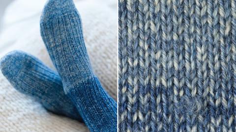 Strickset Socken mit Rippenmuster: Lana Mia One 4 Two - blau kaufen im Makerist Materialshop