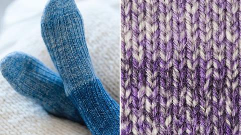 Strickset Socken mit Rippenmuster: Lana Mia One 4 Two - lila kaufen im Makerist Materialshop