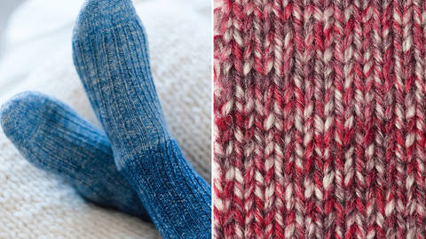 Strickset Socken mit Rippenmuster: Lana Mia One 4 Two - rot kaufen im Makerist Materialshop