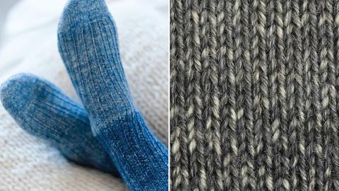 Strickset Socken mit Rippenmuster: Lana Mia One 4 Two - grau kaufen im Makerist Materialshop