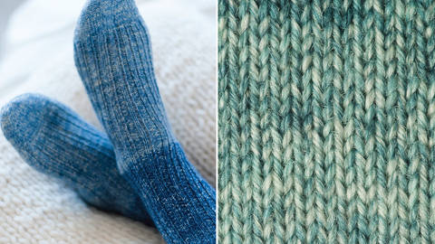 Strickset Socken mit Rippenmuster: Lana Mia One 4 Two - türkis kaufen im Makerist Materialshop