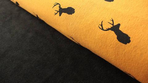 Senfgelber Happy Fleece: Hirsche - 150 cm kaufen im Makerist Materialshop