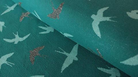 Petrolfarbener Jacquard-Jersey Lurex Irina: Vögel - 150 cm kaufen im Makerist Materialshop