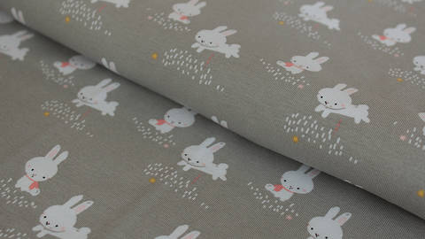 Hellgrauer Baumwolljersey: Binky Bunny - 145 kaufen im Makerist Materialshop
