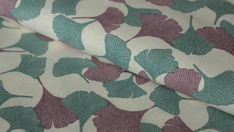 Naturfarbener bedruckter Leinenstoff: Ginkgo - 140 cm kaufen im Makerist Materialshop