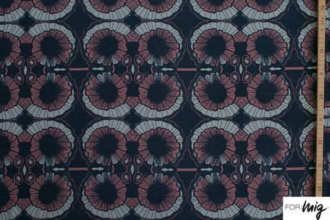 Dunkelblau bedruckter Bio-Jersey lillestoff: Autum Blossom - 150 cm kaufen im Makerist Materialshop