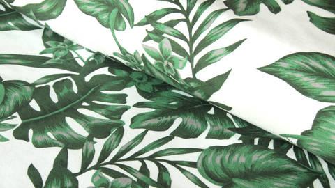 Weiß-grün bedruckter Baumwolljersey: Tim Blätter - 160 cm - ARCHIVIERT - kaufen im Makerist Materialshop