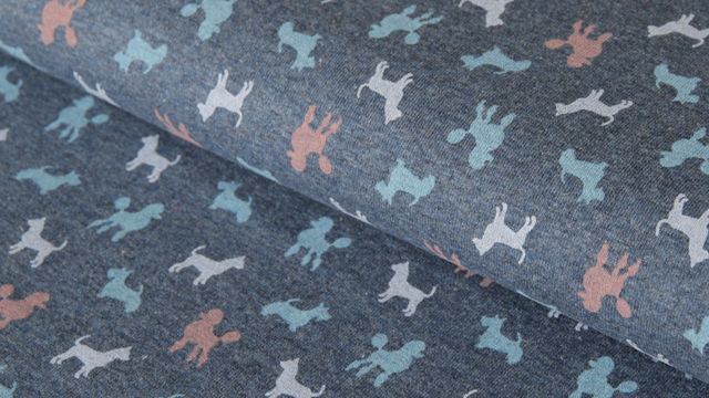 Dunkelblau Jersey: Dogs Parade - 150 cm - Stoffe kaufen im Makerist Materialshop