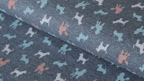 Dunkelblau Jersey: Dogs Parade - 150 cm kaufen im Makerist Materialshop
