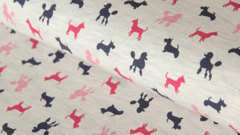 Weiß melierter Jersey: Dogs Parade - 150 cm kaufen im Makerist Materialshop