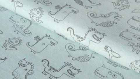 Mintfarbener melierter Jersey: Cute Dragons - 150 cm kaufen im Makerist Materialshop