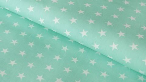 Mint-weiß bedruckter Baumwollstoff: Stars - 150 cm kaufen im Makerist Materialshop