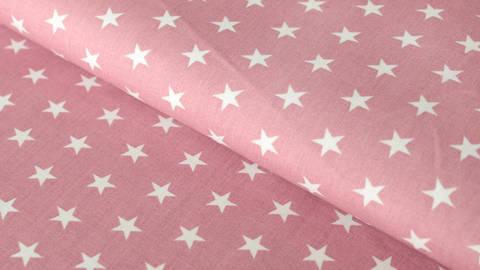 Baumwollstoff altrosa-weiß bedruckt: Stars - 150 cm kaufen im Makerist Materialshop