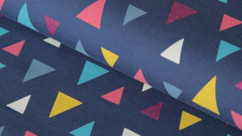 Dunkelblauer Baumwolljersey Sparkling Print: Triangles - 150 cm kaufen im Makerist Materialshop