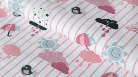 Weiß-rosafarbend bedruckter Jersey: Sun and Rain- 150 cm kaufen im Makerist Materialshop
