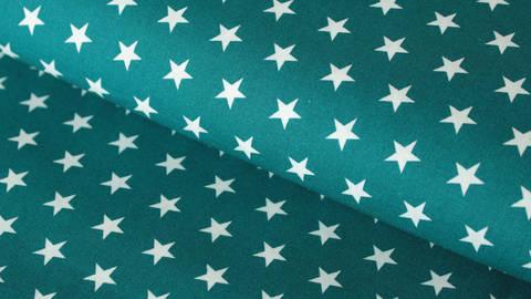 Petrol-weiß bedruckter Baumwollstoff: Stars - 150 cm kaufen im Makerist Materialshop
