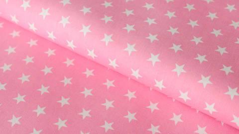 Rosa-weiß bedruckter Baumwollstoff: Stars - 150 cm kaufen im Makerist Materialshop