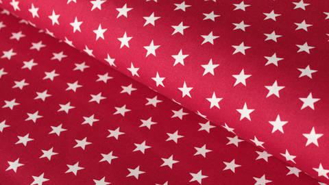 Bordeauxfarben-weißer Baumwollstoff: Stars - 150 cm kaufen im Makerist Materialshop