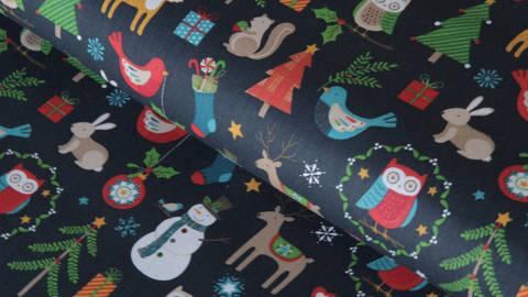 Dunkelblau bedruckter Baumwollstoff: Weihnachten Tiermotive - 140 cm kaufen im Makerist Materialshop