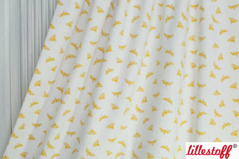 Weiß-gelb bedruckter Bio-Jersey: Motten im Licht - 150 cm kaufen im Makerist Materialshop