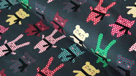 Grau bedruckter Jersey: Bunte Kuscheltiere - 150 cm kaufen im Makerist Materialshop