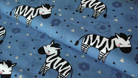 Blau bedruckter Jersey: Zebra - 150 cm kaufen im Makerist Materialshop