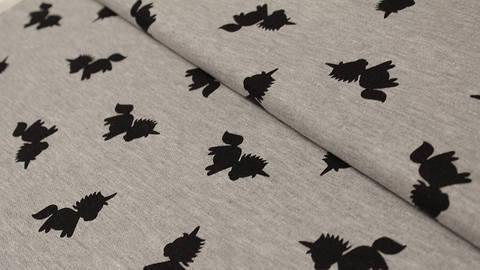 Acheter Jersey gris chiné : les licornes Avalana - 162 cm dans la mercerie Makerist