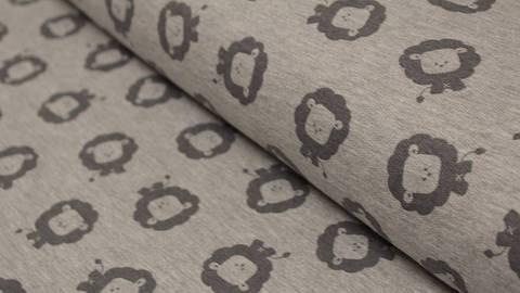 Acheter Tissu gris chiné : les lions d'Avalana - 150 cm  dans la mercerie Makerist