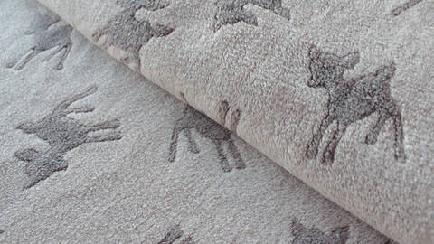 Sandfarbener Jacquard Fleece: Rehe - 150 cm - ARCHIVIERT - kaufen im Makerist Materialshop