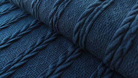 Dunkelblauer Uni Strickstoff: Kabel - 160 cm kaufen im Makerist Materialshop