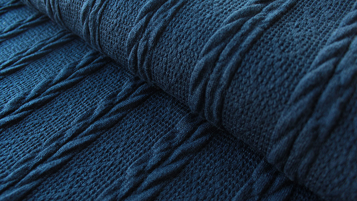 Dunkelblauer gestrickter Uni: Kabel - 160 cm