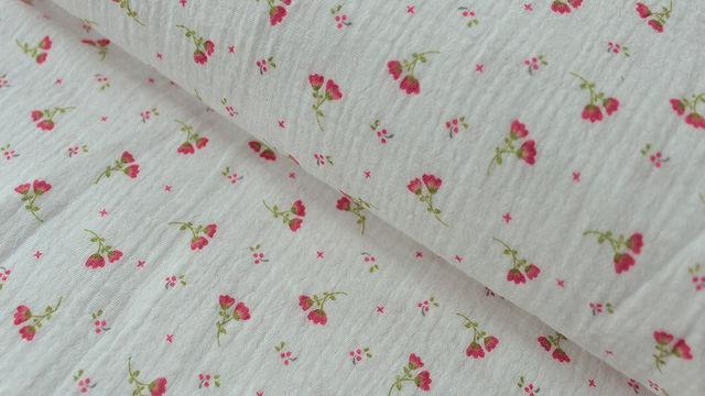Weißer Double Gauze Baumwollstoff: Sweet Flower - 132 cm - Stoffe kaufen im Makerist Materialshop