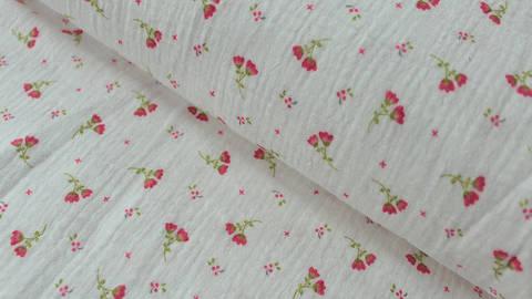 Weißer Double Gauze Baumwollstoff: Sweet Flower - 132 cm kaufen im Makerist Materialshop