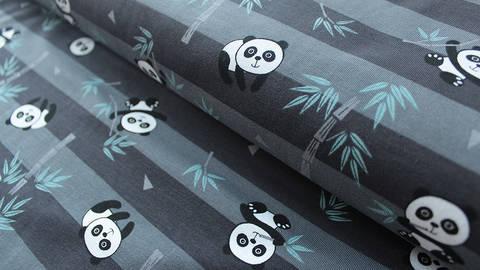 Grau gestreifter Jersey: Panda - 150 cm kaufen im Makerist Materialshop