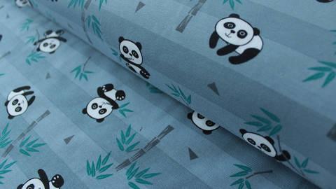 Blau gestreifter Jersey: Panda - 150 cm kaufen im Makerist Materialshop