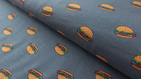 Grau bedruckter Jersey: Hamburger - 150 cm kaufen im Makerist Materialshop