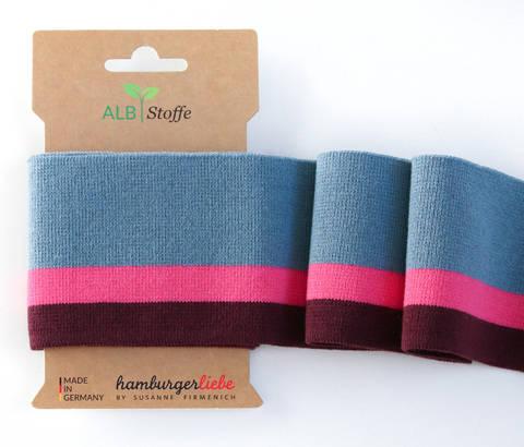 Elastische Cuff me Bündchen: College - Col.07 blau-rosa kaufen im Makerist Materialshop