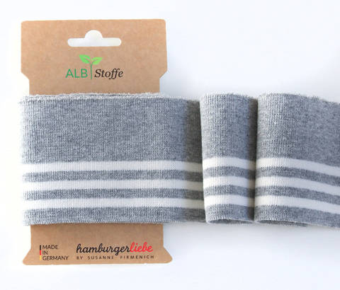 Elastische Cuff me Bündchen: College - Col.14 grau weiß kaufen im Makerist Materialshop