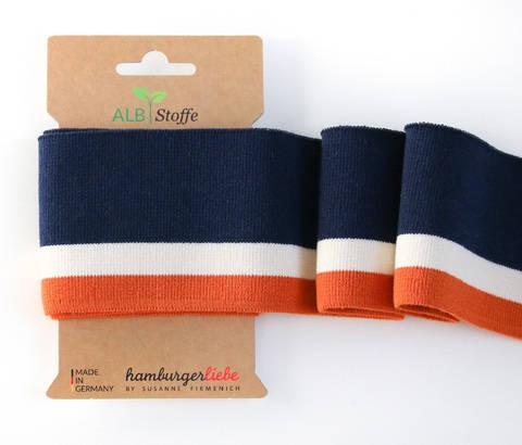 Elastische Cuff me Bündchen: College - Col.09 blau orange kaufen im Makerist Materialshop