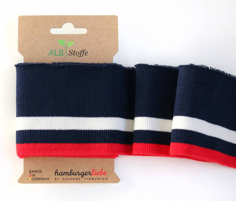 Elastische Cuff me Bündchen: College - Col.04 blau rot kaufen im Makerist Materialshop
