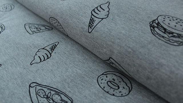 Grauer Baumwolljersey: French Terry Fast Food - 155 cm - Stoffe kaufen im Makerist Materialshop