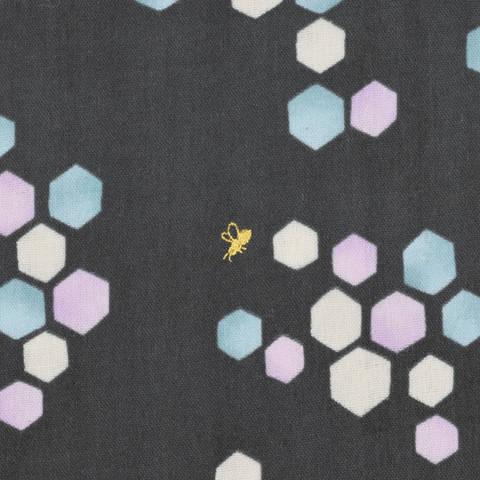 KOKKA Double Gauze Tréfle dunkelblau/ Biene gold kaufen im Makerist Materialshop