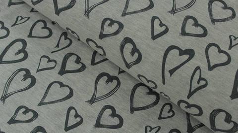 Sweatstoff grau meliert: Avalana Herzen - 150 cm kaufen im Makerist Materialshop